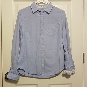 Blue ladies button blouse
